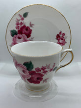 Load image into Gallery viewer, Queen Anne. England.  Cup and Saucer. Dark and Light  Pink Roses