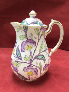 Royal Chelsea, England, Coffee Pot/Tea Pot-   Mauve Flowers