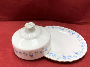 Royal Albert, Memory Lane, Round Butter Dish with Lid.  Forget-Me-Nots