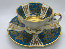 Load image into Gallery viewer, Alka bunst, Alboth Kalsen. Bavaria. Teal , Ivory and gold. Demitasse Cup and Saucer
