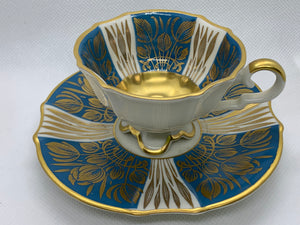 Alka bunst, Alboth Kalsen. Bavaria. Teal , Ivory and gold. Demitasse Cup and Saucer