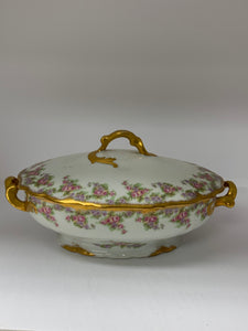 "Limoges, Elite Works.  ""Bridal Wreath"".   Covered Veg. Bowl- oval"