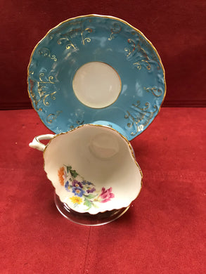 Aynsley,  square cup, Tea Blue and Floral