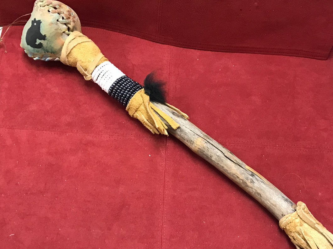 Rattle, Indigenous, Rawhide, Bead, Wood and Hide