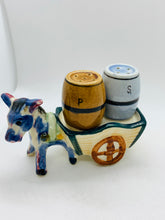 Load image into Gallery viewer, Salt and Pepper.  Italy.  -unmarked-  Little Donkey with cart and barrels.