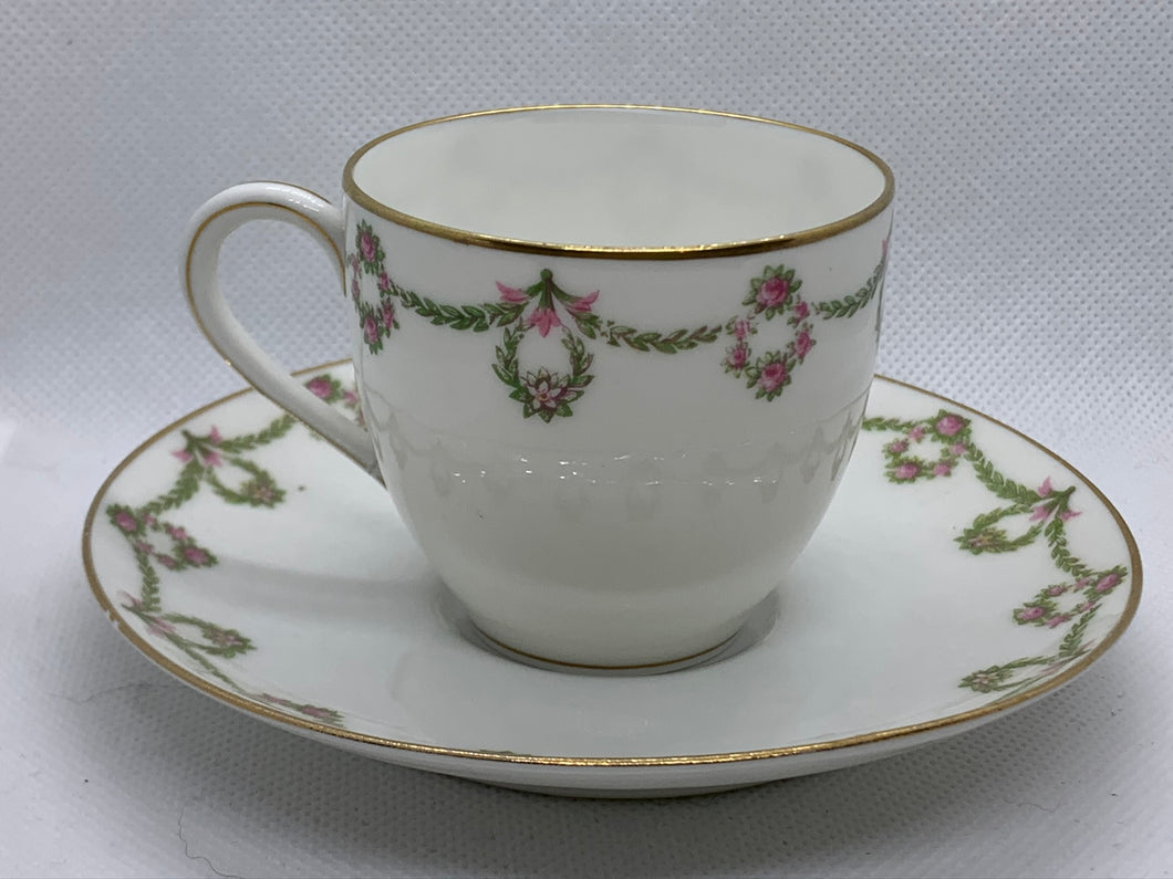 Limoges-France.  Bridal Wreath. Demitasse Cup and Saucer