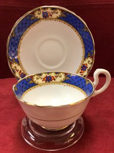 Court China, England. Cup and Saucer. Cobalt with floral, 7818