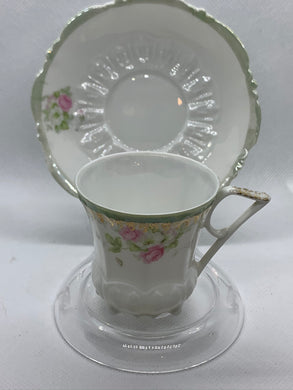 Germany.  Cream/Soft Green with Pink and White Roses. Demitasse Cup and Saucer