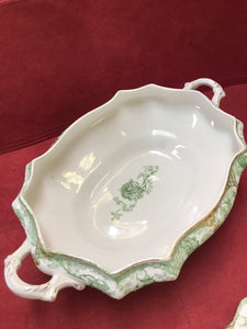 T&R Boote, England, Semi-Porcelain, Green Roses, Covered Vegetable Dish