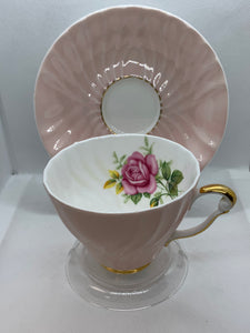 Queen Anne, England. Cup and Saucer.  Pink with Large Pink Rose