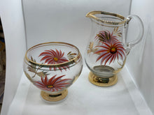 Load image into Gallery viewer, Czechoslovakia. Glass. Cream and Sugar. Hand Painted.