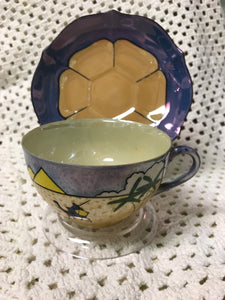 Nippon, Japan. Cup and Saucer. Desert Scene, Antique