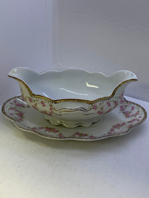 MZ. Czechoslovakia. . Bridal Roses. Gravy Boat with Under Plate
