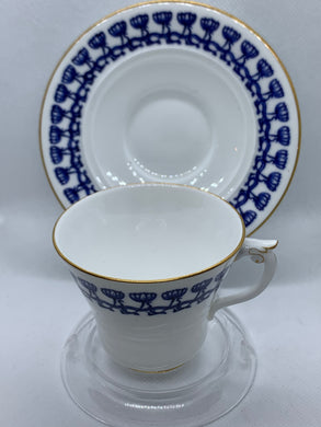 Royal China Works, Worcester, England.   Blue and White. Onion Pattern. Demitasse Cup and Saucer
