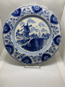 Collector Plate.  Unmarked. Delft Blue.  Windmills/Boats/Hearts
