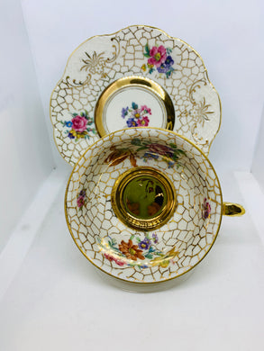 "Winterling, Bavaria. Cup and Saucer. White with outlined gold ""mosaic"" Mixed Floral."