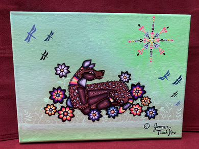 Original on Canvas. Ojibwe- Woodland Style — Deer Resting.     By  Jenner.Tauch Kwe
