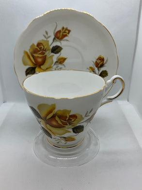 Regency,  England.  Cup and Saucer. Large Yellow Roses