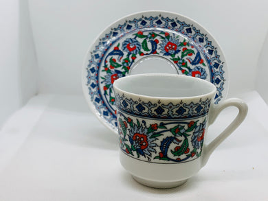 Turkey, KP Porcelain, Demitasse Cup and Saucer. Blue, Green and Red on white background.