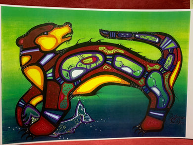 Print . Ojibwe- Woodland Style.  Otter with Fish.    Jenner Tauch Kwe
