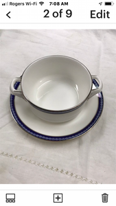 Royal Worcester. England. Firenze, Avalon. Cream soup Bowls with Underplates (set of 4)