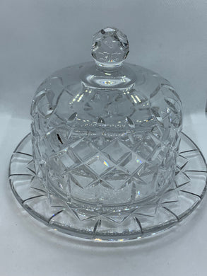Waterford Crystal. Waffle/Diamond Pattern, Butter Dish-Round,