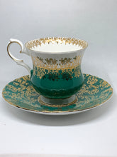 Load image into Gallery viewer, Elizabethan. England. Cup and Saucer. Hunter Green with white- gold floral chintz.