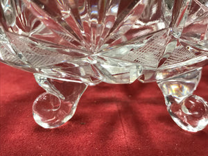 Crystal , Covered Dish, Four footed, Vintage