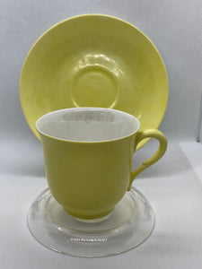 GDA. Limoge. France.  Yellow and  Ivory/Lustre. Demitasse Cup and Saucer