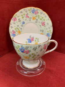 Foley. England. Cup and Saucer. Mixed floral on mint green