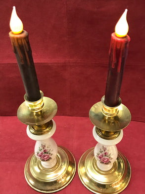 "Candle Stick Holder, Porcelain/Brass, Pink Roses,  9"" high"