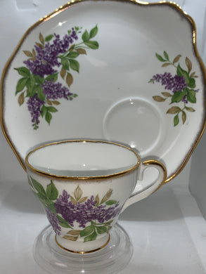 Salisbury, England.  Teacup and snack plate.  Purple Lilacs.