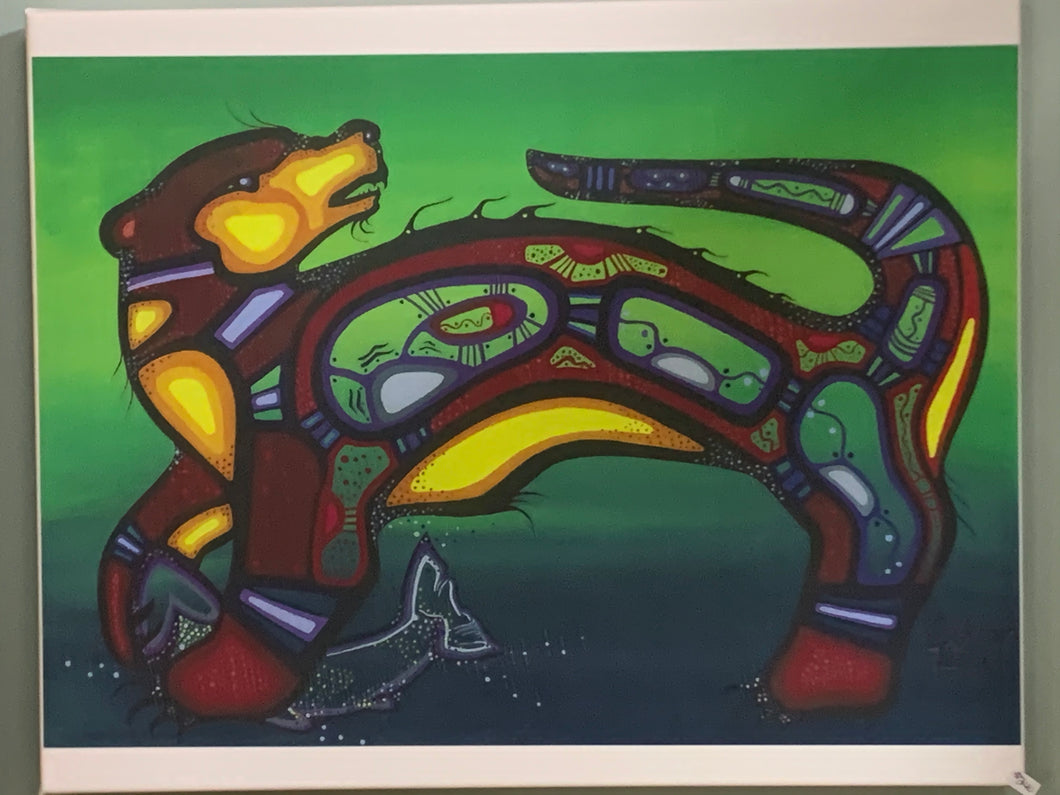 Print on Canvas. Ojibwe- Woodland Style.  Otter with Fish.    Jenner Tauch Kwe