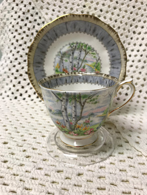 Royal Albert, England. Silver Birch. Cup, Saucer and Snack plate. ( 3pc )