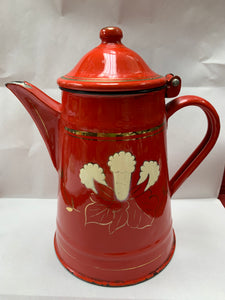 Made in Yugoslavia.  Enamelled Coffee Pot - Red with white flower.