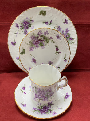 Hammersley, England. Cup and saucer with side plates. Victorian Violets, from England's Countryside. 4pc Set
