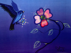 Print. Ojibwe- Woodland Style.  Blue Bird with Pink Flower.   By Jenner Tauch Kwe