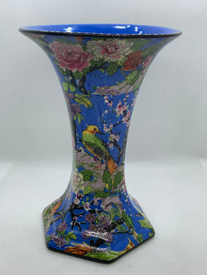 Vase. England. Crown Ware. DUCAL.  Chintz- Blue with Exotic Birds