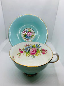 Delphine, England. Cup and Saucer. Mixed Floral on Turquoise