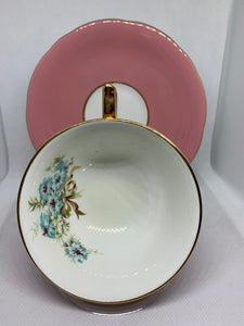 Aynsley. England. Cup and Saucer.  Pink with blue flowers