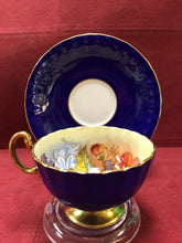 Load image into Gallery viewer, Aynsley. England. Cup and Saucer. Cobalt with Roses, 1033