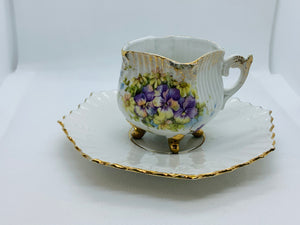 Unmarked.  Square cup with Purple Violets. Demitasse Cup and Saucer
