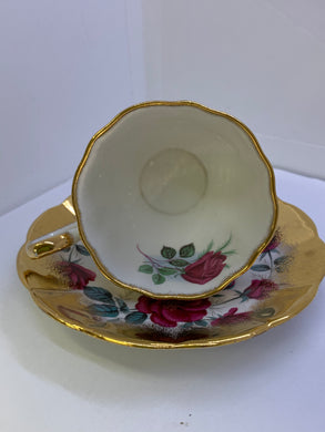 Stratford,  England. Cup and Saucer. Pink Roses with Gold Border