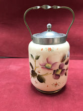 "Load image into Gallery viewer, Biscuit Barrel, Victorian, Satin Glass, Pewter and Brass, apple blossoms. 5""H x 3-1/2""D"
