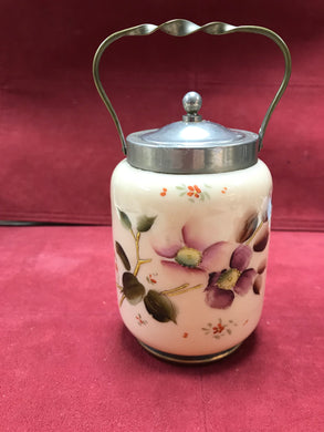 Biscuit Barrel, Victorian, Satin Glass, Pewter and Brass, apple blossoms