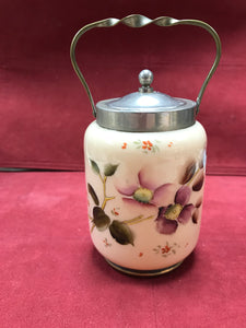 "Biscuit Barrel, Victorian, Satin Glass, Pewter and Brass, apple blossoms. 5""H x 3-1/2""D"