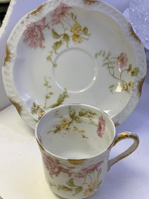 Haviland- Limoges-France. Demitasse Cup and Saucer. Pink and Yellow Flowers
