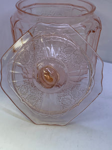 Depression Glass. Pink. Biscuit Jar.   Mayfair- Open Rose.