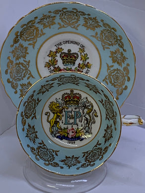 Paragon, England.  Cup and Saucer. Opening of St. Lawrence Seaway.