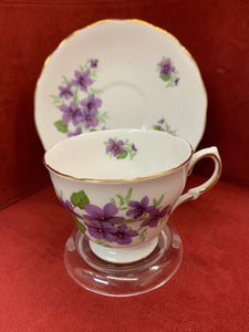 Royal Vale. England. Cup and Saucer.  Purple Violets.
